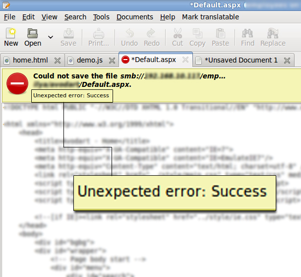 unexpected error-success